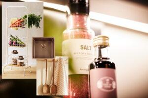 Zara Home landelijk keukenrek, theedoek, Häcker olie & azijn en Lanesto spoelbak Copper
