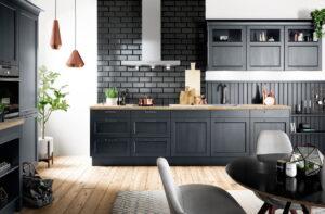 Fluweel blauwe modern landelijke keuken, Häcker Bristol