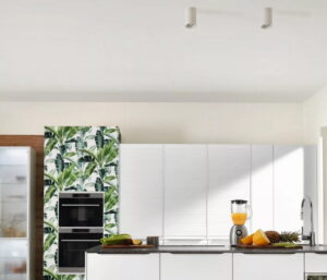 Verlichting keuken plafond met spots, Nobilia witte moderne keuken
