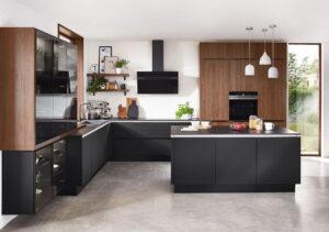 Zwarte keuken met eiland, Nobilia Riva 840
