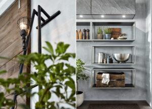 Robuuste stalen regalen en keukenlamp, Häcker keuken Silver Star AV 7030 GL