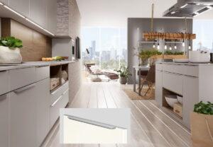 Grijze design keuken semi-greeploos, Nobilia keuken Touch 341