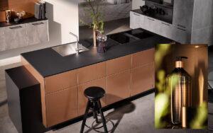 Luxe zwart met koper kleur keukeneiland - Häcker AV 2045 AV 7070
