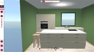 3D Keuken ontwerp van moderne keuken met kookeiland, I-KOOK 3D keukenplanner