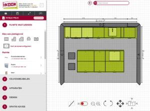 3D Keuken ontwerp 2D plattegrond van moderne keuken, I-KOOK keukenplanner